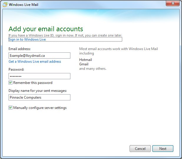 Create shaw email account